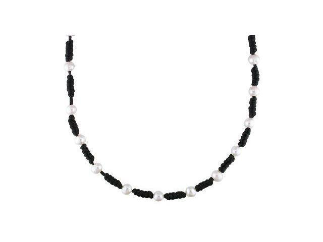 Amour Freshwater White Pearl Chinese String Necklace (7.5-8mm) (17in)