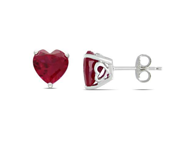 Sterling Silver 5 3/4ct TGW Created Ruby Heart Earrings