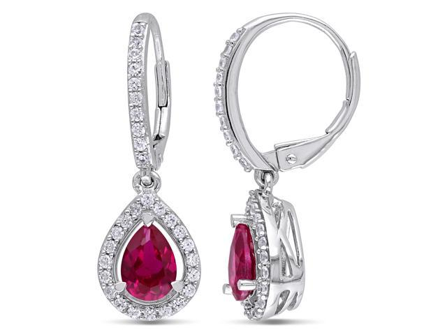 Sterling Silver 2 7/8ct TGW Created Ruby and Created White Sapphires Dangle Earrings