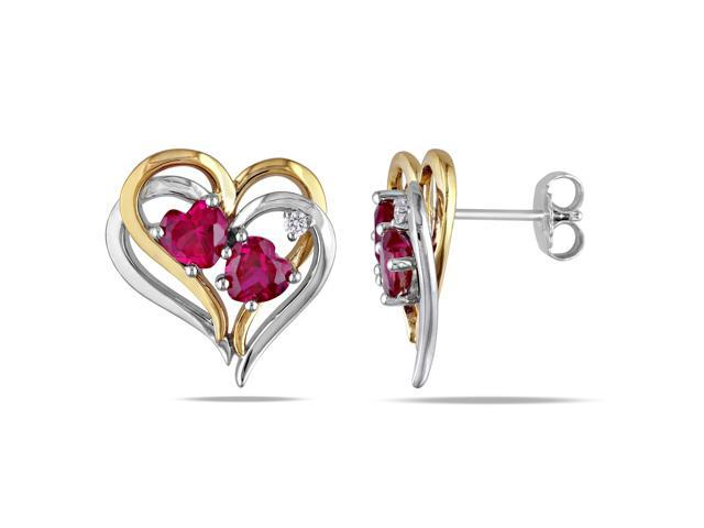 Two Tone Silver 2 1/3ct TGW Created Ruby and 0.04ct TDW Diamond Heart Earrings (G-H, I3)