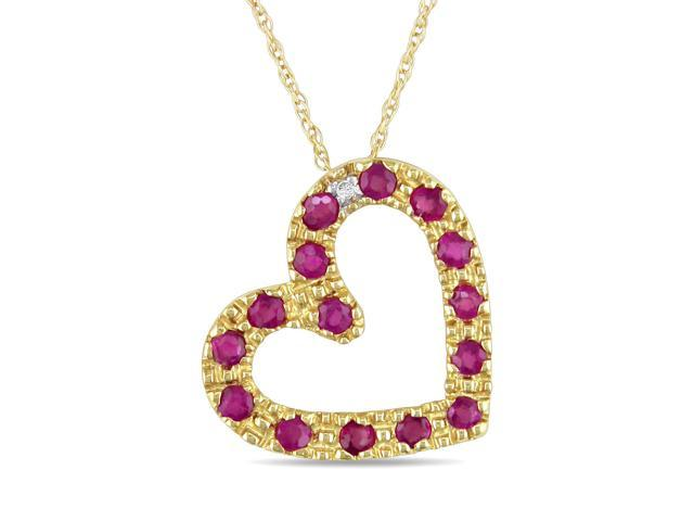 Amour 10k Yellow Gold 3/5ct TGW Ruby and 0.01ct TDW Diamond Heart Pendant with Chain (G-H, I2-I3) (17in)