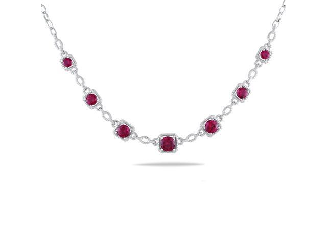 Amour Sterling Silver 8 4/8ct TGW Created Ruby and 0.04ct TDW Diamond Necklace with Chain (G-H, I2-I3) (17in)