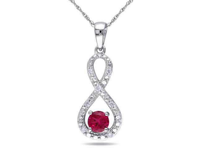Amour 10k White Gold 3/5ct TGW Created Ruby and 1/10ct TDW Diamond Infinity Pendant with Chain (G-H, I2-I3) (17in)