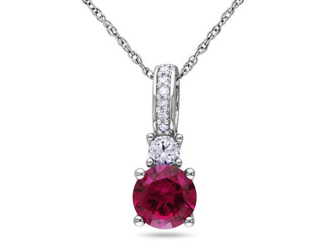 Amour 10k White Gold 1 1/6ct TGW Created Ruby and Created White Sapphire with 0.03ct TDW Diamond Pendant with Chain (G-H, I2-I3) (17in)