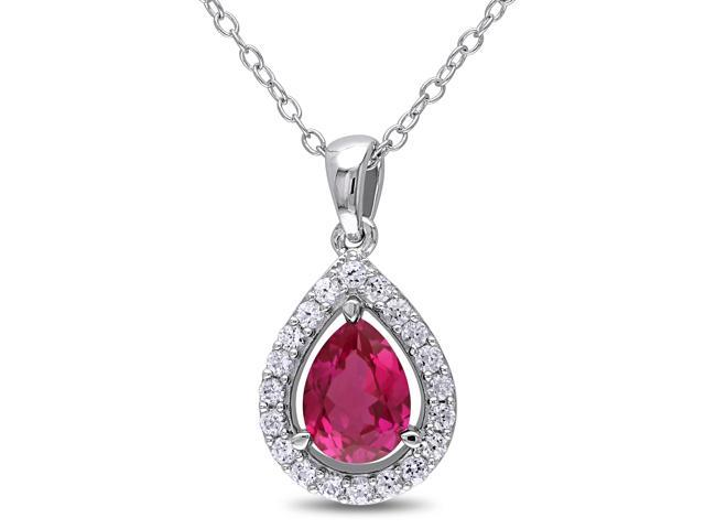 Amour Sterling Silver 2 1/5ct TGW Created Ruby and Created White Sapphire Pendant with Chain (18in)