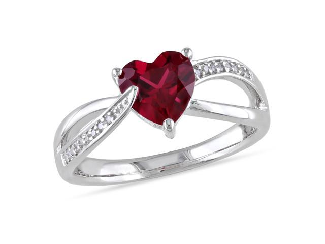 Amour Sterling Silver 1 3/5ct TGW Created Ruby and 0.05ct TDW Diamond Heart Ring (G-H, I3)