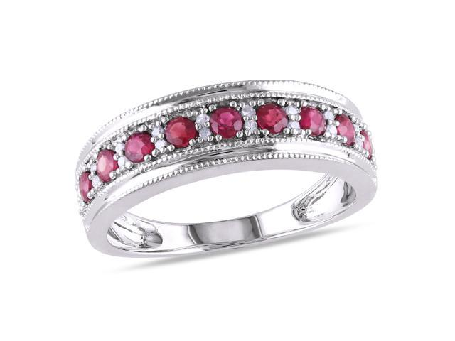 Amour 10k White Gold 3/8ct TGW Ruby and 1/10ct TDW Diamond Eternity Ring (G-H, I1-I2)