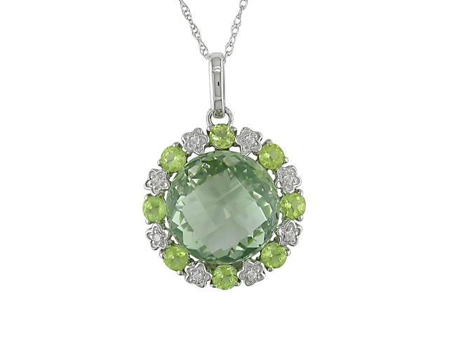 Amour 10k White Gold 11ct TGW Green Amethyst and Peridot with 0.05ct TDW Diamond Halo Pendant with Chain (17in)