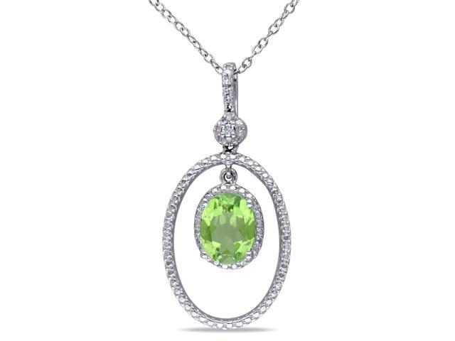 Amour Sterling Silver 2ct TGW Peridot and 0.05ct TDW Diamond Oval Pendant with Chain (G-H, I2-I3) (18in)