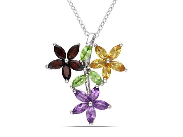 Amour Sterling Silver 2 3/4ct TGW Multi-Gemstone Flower Pendant with Chain (18in)