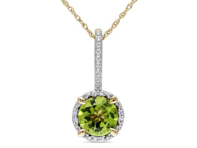 Amour 10k Yellow Gold 1 1/2ct TGW Peridot and 0.03ct TDW Diamond Halo Pendant with Chain (G-H, I2-I3) (18in)