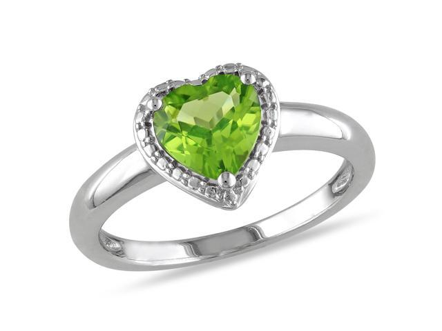 Amour Sterling Silver 1 1/3ct TGW Peridot Ring