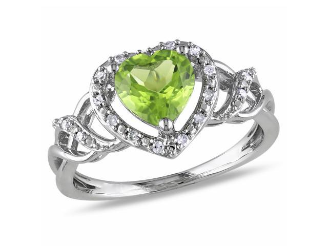 Amour Sterling Silver 1 1/3ct TGW Peridot and 1/10ct TDW Diamond Heart Ring (G-H, I2-I3)