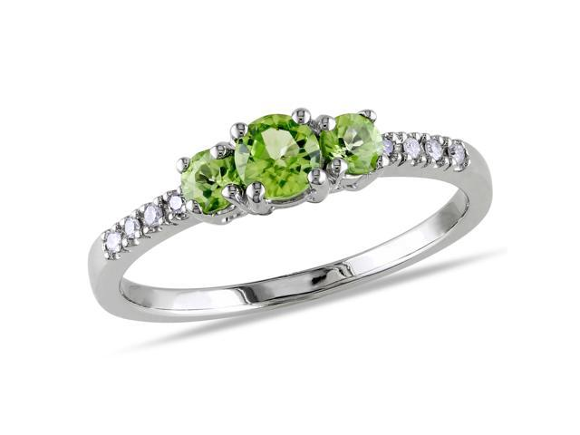 Amour 10k White Gold 1/2ct TGW Peridot and 0.04ct TDW Diamond Three Stone Ring (G-H, I1-I2)