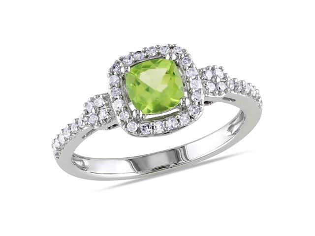 Amour 10k White Gold 5/8ct TGW Peridot and 1/5ct TDW Diamond Halo Ring (G-H, I1-I2)