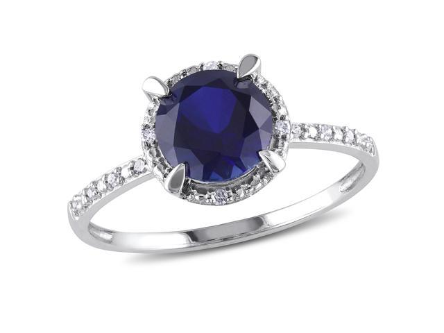 Amour 10k White Gold 1 5/8ct TGW Created Blue Sapphire and 0.05ct TDW Diamond Cocktail Ring (G-H, I2-I3)