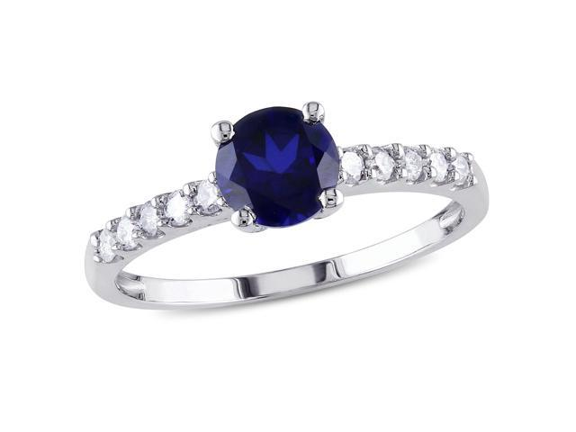 Amour 10k White Gold 1ct TGW Created Blue Sapphire and 1/4ct TDW Diamond Cocktail Ring (G-H, I2-I3)