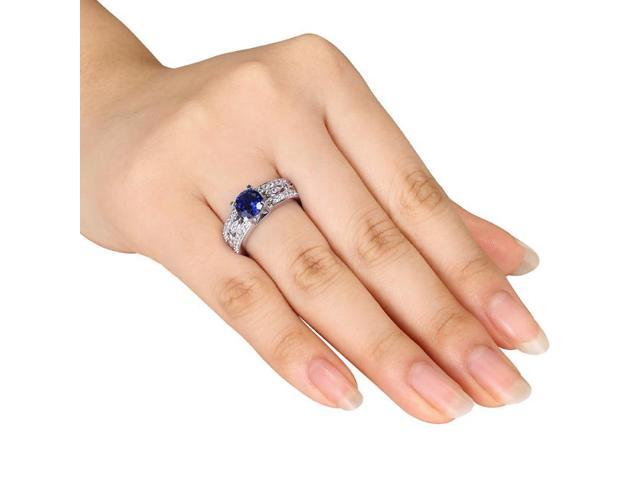 Amour Sterling Silver 1 3/4ct TGW Created Blue and White Sapphire Engagement Ring