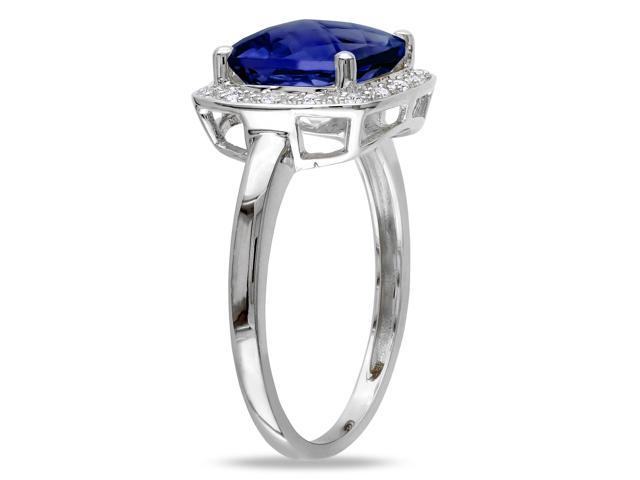 Amour 10k White Gold 3 1/4ct TGW Created Blue Sapphire and 1/10ct TDW Diamond Cocktail Ring (G-H, I2-I3)