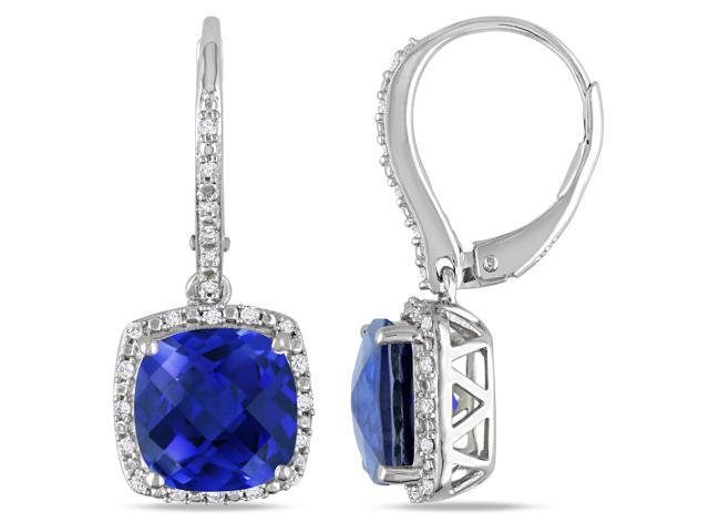 Amour Sterling Silver 6 1/2ct TGW Created Blue Sapphire and 1/5ct TDW Diamond Dangle Earrings (G-H, I3)