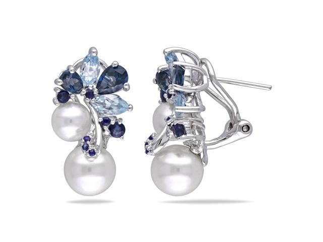 Amour Sterling Silver Freshwater White Pearl with 3ct TGW London Blue Topaz, Sky Blue Topaz and Sapphire Dangle Earrings