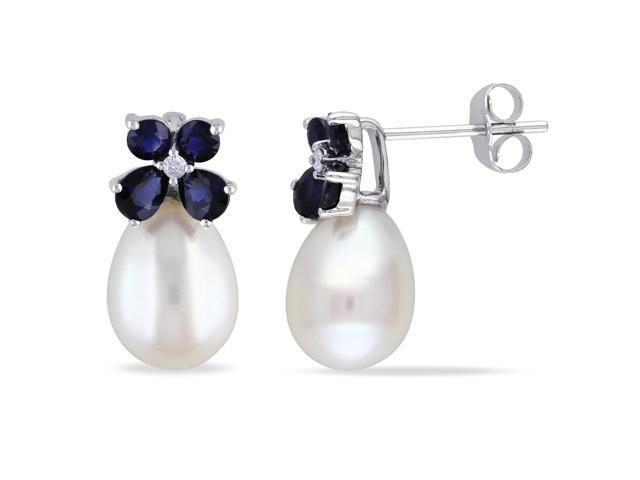 Amour 10k White Gold Freshwater White Pearl and 1 1/4ct TGW Sapphire with 0.03ct TDW Diamond Dangle Earrings (G-H, I2-I3)