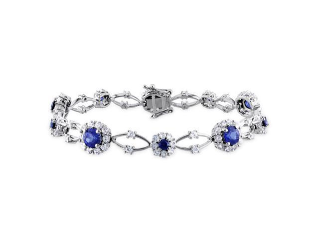 Amour Sterling Silver 7 1/3ct TGW Created Blue and White Sapphire Link Bracelet (7in)