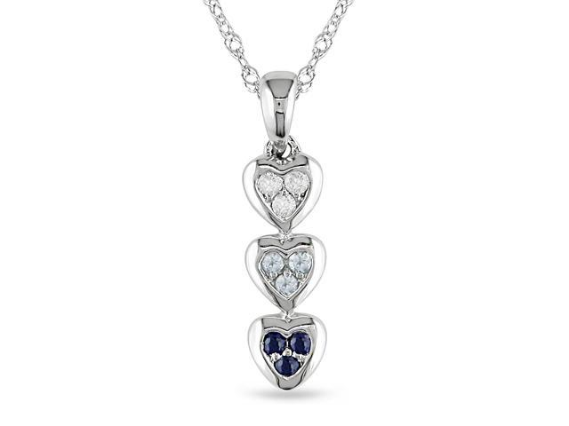 Amour 10k White Gold 0.07ct TGW Sky Blue Topaz and Sapphire with 0.03ct TDW Diamond Heart Pendant with Chain (G-H, I2-I3) (17in)