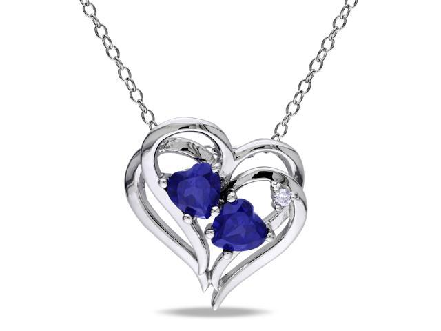 Amour Sterling Silver 1 1/8ct TGW Created Blue Sapphire and 0.02ct TDW Diamond Heart Pendant with Chain (G-H, I3) (18in)