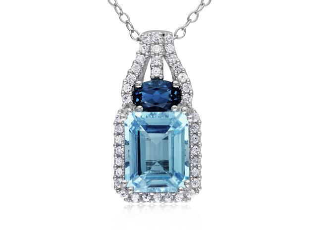 Amour Sterling Silver 5ct TGW Sky and London Blue Topaz with Created White Sapphire Pendant with Chain (18in)