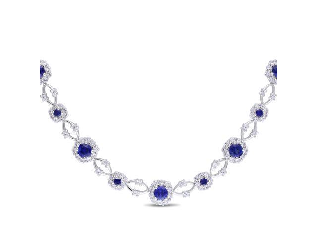 Amour Sterling Silver 10 3/5ct TGW Created Blue and White Sapphire Necklace (16in)