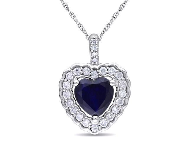 Amour 10k White Gold 7/8ct TGW Diffused Sapphire and 1/6ct TDW Diamond Heart Pendant with Chain (G-H, I1-I2) (17in)