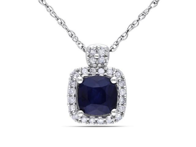 Amour 10k White Gold 3/4ct TGW Diffused Sapphire and 1/10ct TDW Diamond Halo Pendant with Chain (G-H, I1-I2) (17in)