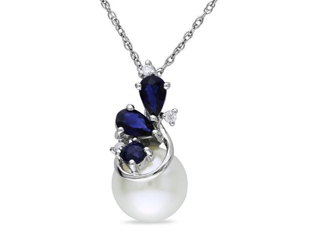 Amour 10k White Gold Freshwater White Pearl and 5/8ct TGW Sapphire with 0.03ct TDW Diamond Pendant with Chain (G-H, I3) (17in)