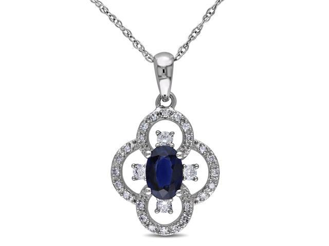 Amour 10k White Gold 5/8ct TGW Sapphire 1/7ct TDW Diamond Oval Pendant with Chain (G-H, I1-I2) (17in)