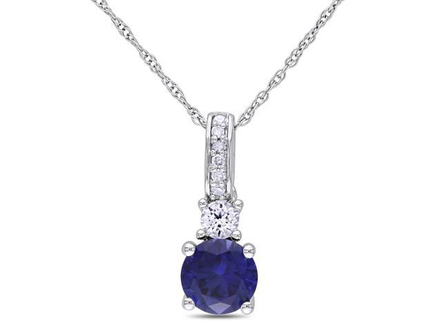 Amour 10k White Gold 1 1/6ct TGW Created Blue Sapphire and 0.03ct TDW Diamond Pendant with Chain (G-H, I2-I3) (17in)