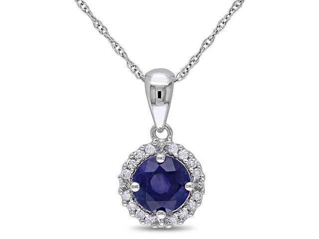 Amour 10k White Gold 1 1/10ct TGW Sapphire and 1/10ct TDW Diamond Halo Pendant with Chain (G-H, I2-I3) (17in)