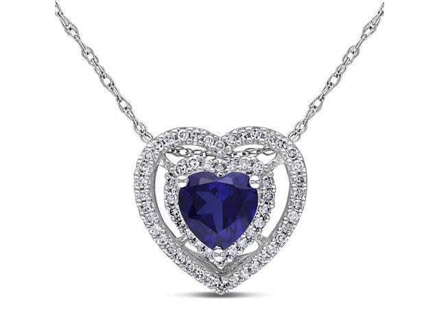 Amour 10k White Gold 7/8ct TGW Created Blue Sapphire and 1/5ct TDW Diamond Heart Pendant with Chain (G-H, I2-I3) (17in)