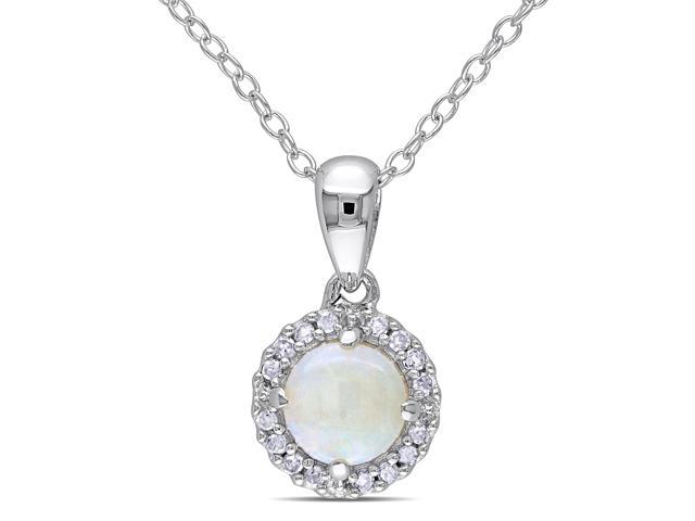 Amour Sterling Silver 3/5ct TGW Opal and 1/10ct TDW Diamond Pendant (G-H, I3) (18in)