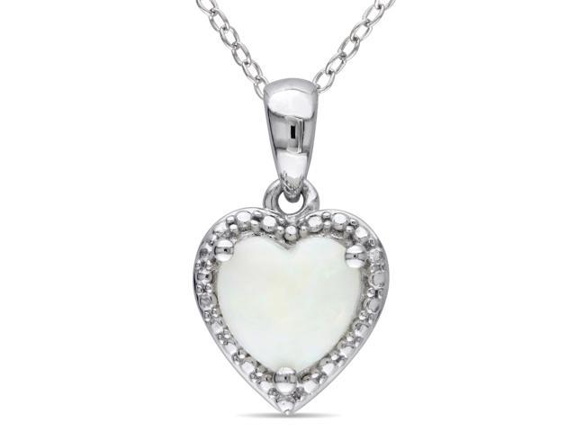 Amour Sterling Silver 7/8ct TGW Opal Heart Pendant (18in)
