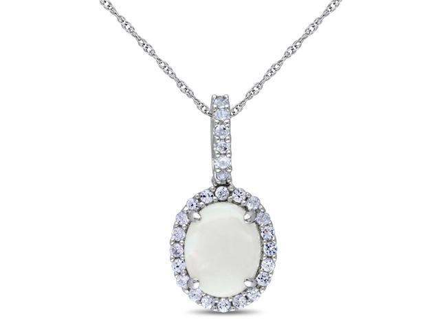 Amour 10k White Gold 2 1/6ct TGW Opal and Created White Sapphire Pendant (17in)