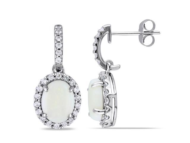 Amour 10k White Gold 2 1/2ct TGW Opal and Created White Sapphire Earrings