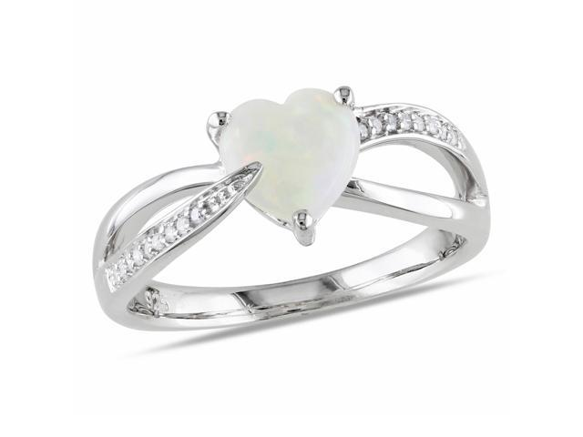 Amour Sterling Silver 7/8ct TGW Opal and 0.05ct TDW Diamond Heart Ring (G-H, I3)