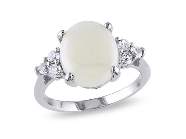 Amour Sterling Silver 3ct TGW Opal and Created White Sapphire Ring