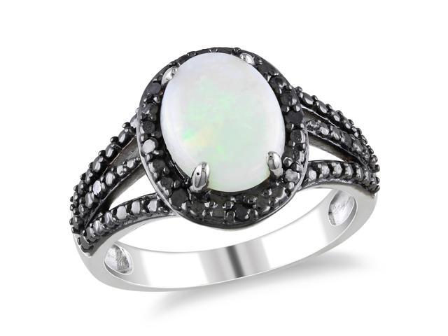 Amour Sterling Silver 1 5/8ct TGW Opal and 1/10ct TDW Black Diamond Ring