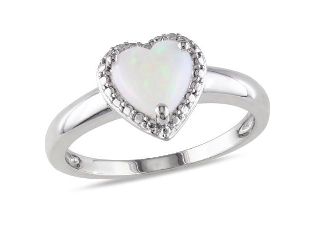 Amour Sterling Silver 7/8ct TGW Opal Heart Ring