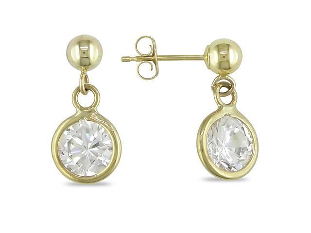 10K Yellow Gold CZ Earrings with Gold Beads