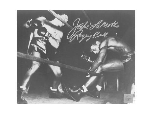 Superstar Greetings Jake Lamotta Signed 8X10 Photo - (Knocking Sugar Ray Robinson Through Ropes February 1943) JL-8a