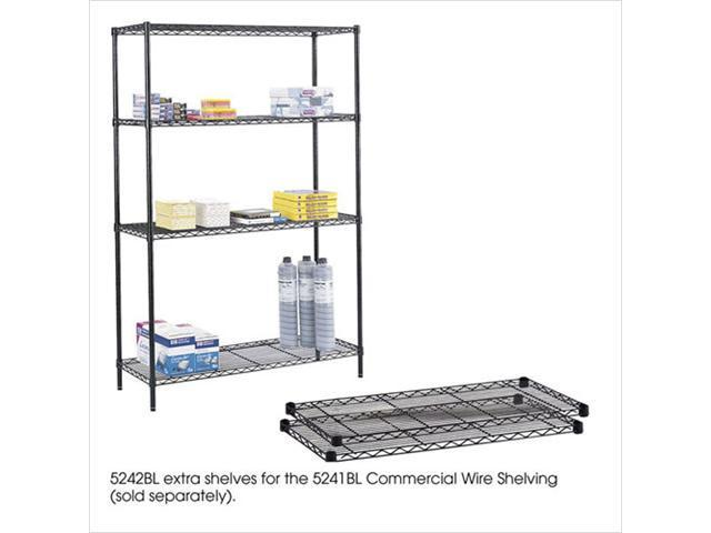 Safco 5242BL 2 Pack 18 x 48 Inch Extra Wire Shelves in Black