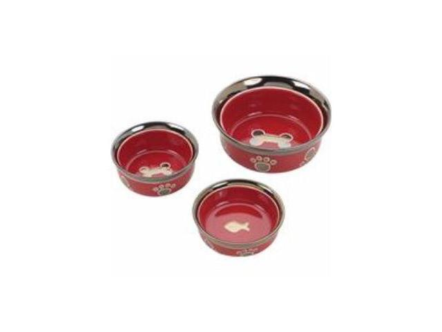 Ethical Pet Ritz Copper Rim Cat Dish, Red, 5 Inch - 6886